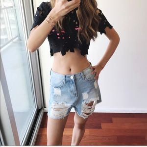 Distressed Relaxed Fit Denim Shorts